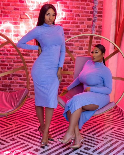 Stand out split dress blue
