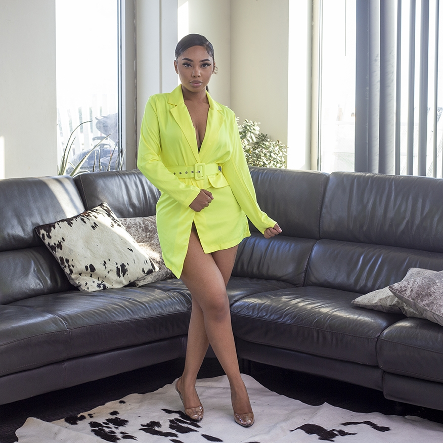 Neon green blazer dress