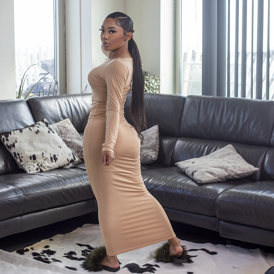 Quarantine Baddie maxi dress nude
