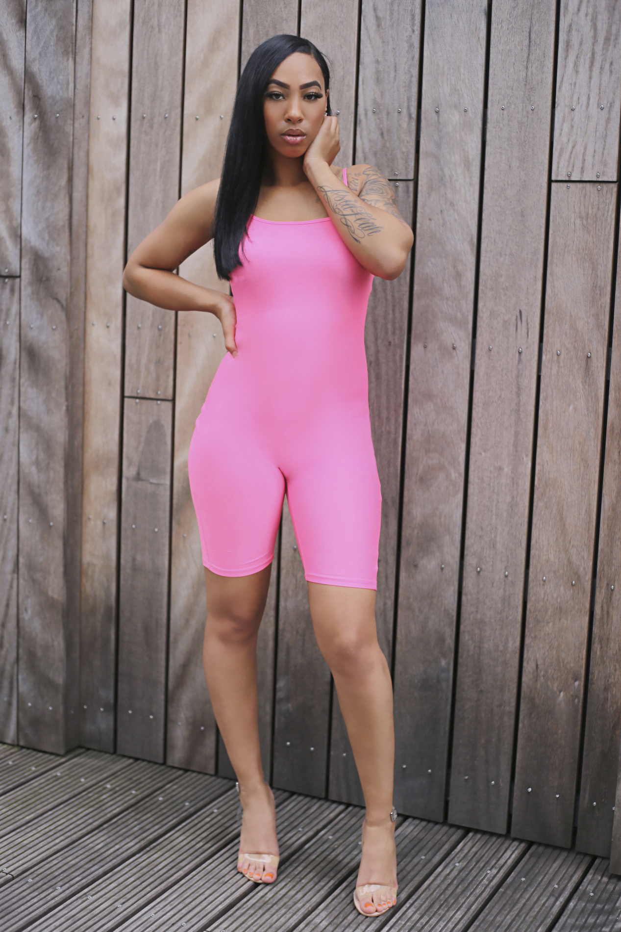 Neon vibes jumpsuit pink