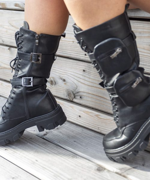 Pocket boots long black