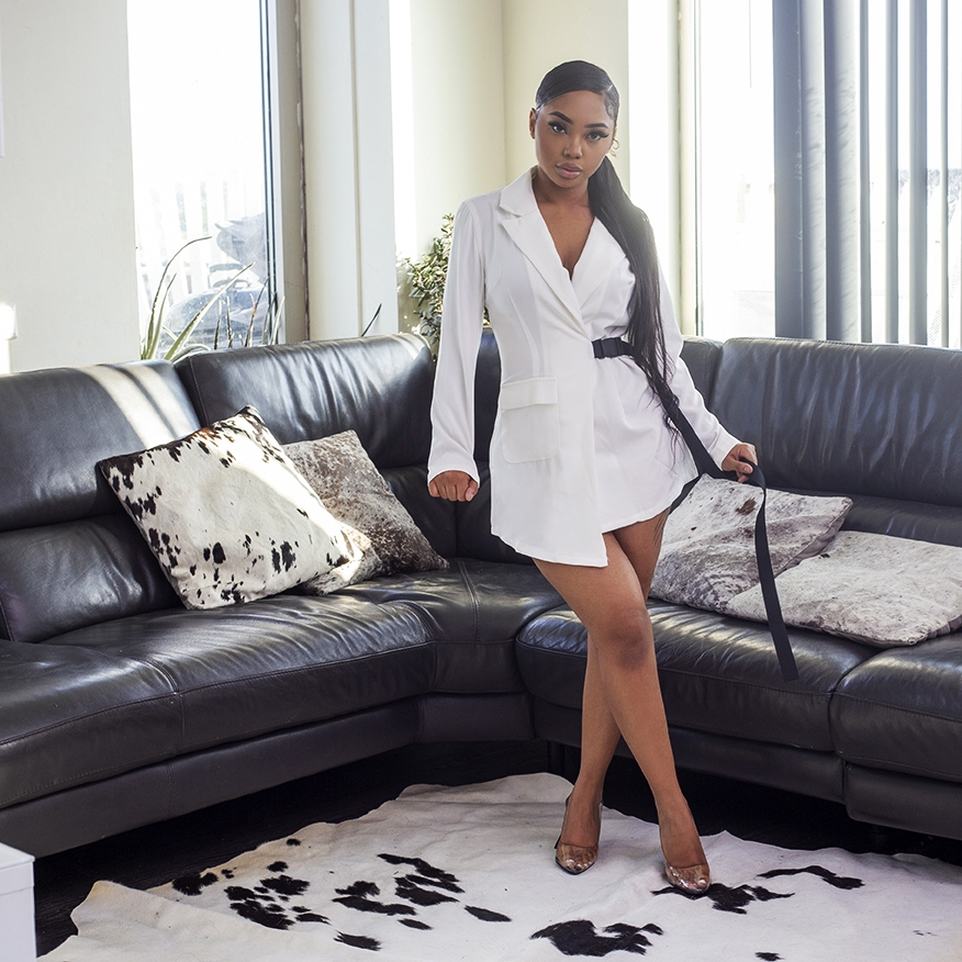 Sexy manager blazer dress white