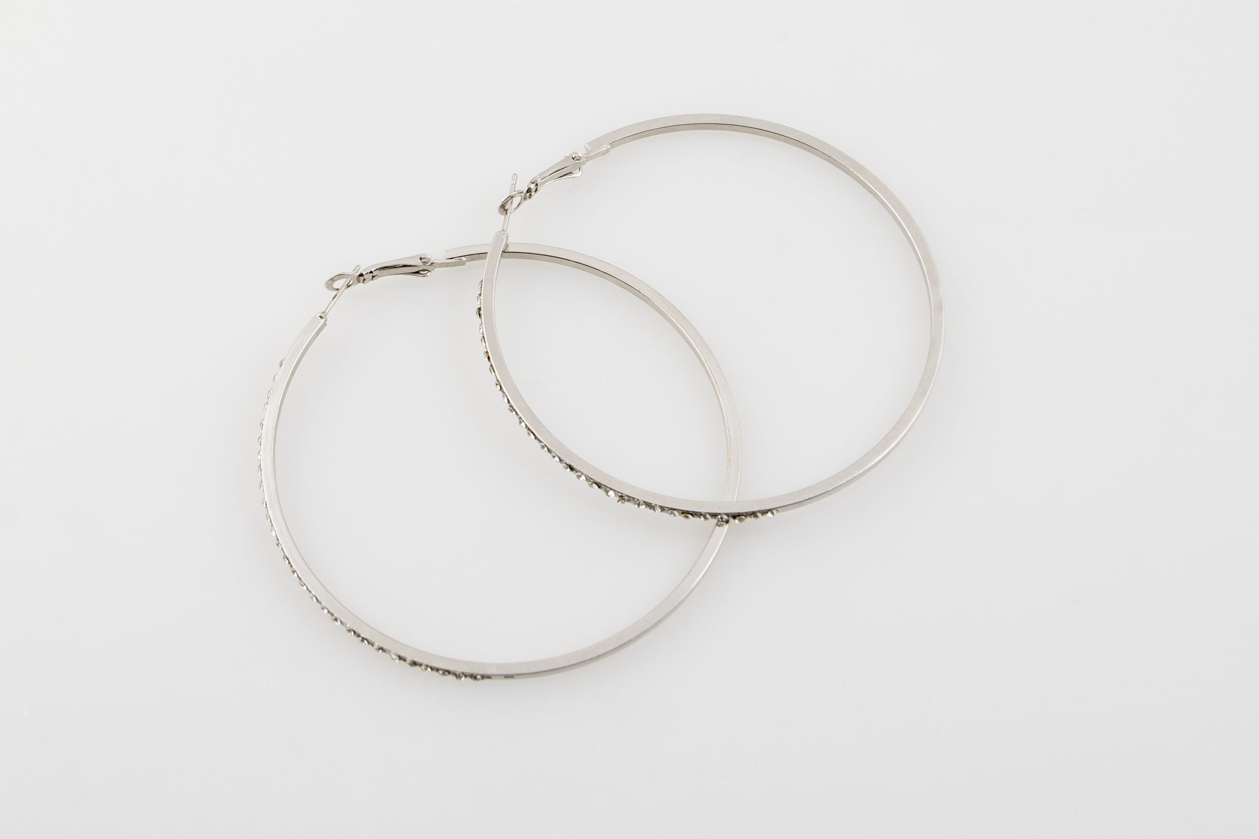 Diamante Medium Silver hoops
