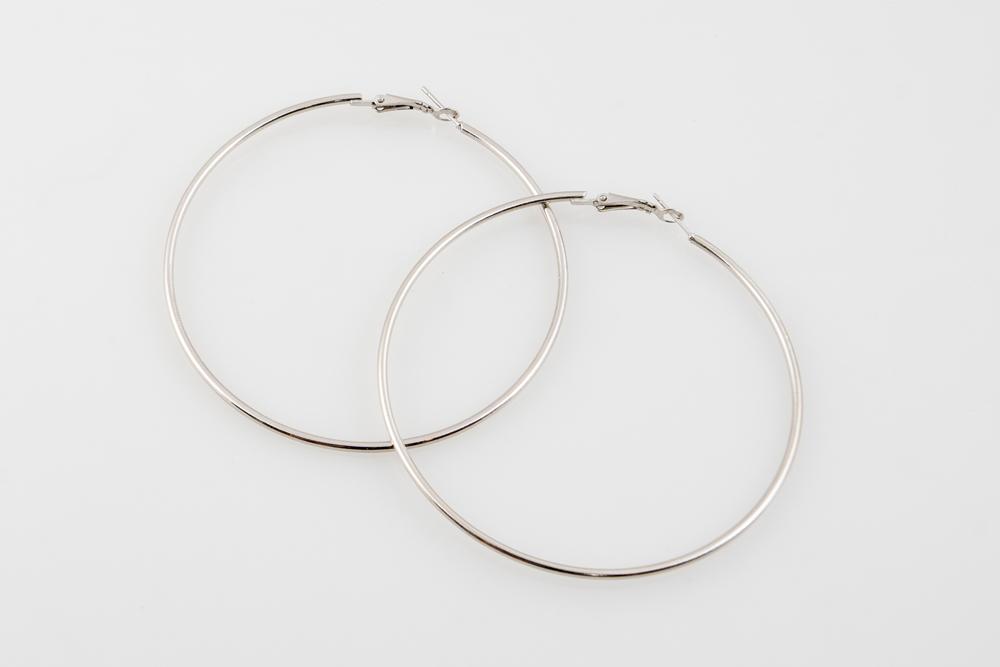 silver Medium hoops