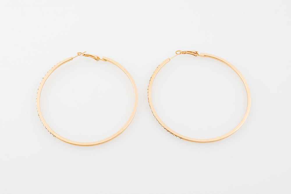 Diamante gold Medium hoops